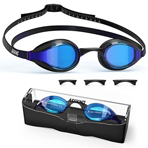 aegend Swim Goggles, Swimming Goggles with 4 Sizes Nose Bridge UV Protection Varied Color Lens No Leaking Anti Fog Crystal Triathlon Training for Adults, Men, Women, Youth, Child and Kids