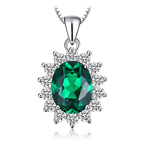 Jewelrypalace 2.5ct Gemstones Birthstone Simulated Emerald 925 Sterling Silver Halo Pendant Necklace For Women Princess Diana William Kate Middleton Necklace Chain Box 18 Inches