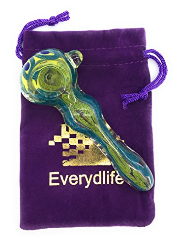 Everydlife Handblow Stained Glass Piece Art Making Item, Artwork Hand Crafted Holder Bubbler about 4.5 Inch