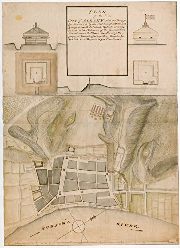 Historic Map | 1756 PLAN of the CITY of ALBANY with the Designs for Securing it by the Addition of a Ditch, and Rampart; with Detached Redouts | Antique Vintage Reproduction by historic pictoric