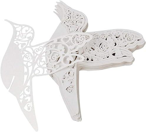 Segnaposto Matrimonio Uccelli.Jzk 50 Perlato Bianco Uccello Segnaposto Segnatavolo Carta