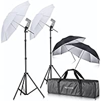 Neewer Off Camera Double Speedlight Flash ShoeMount Swivel Soft Umbrella Kit for Canon 430EX II,580EX II,600EX-RT,Nikon SB600 SB800 SB900,Yongnuo YN 560,YN 565,Neewer TT560,TT680,TT850,TT860