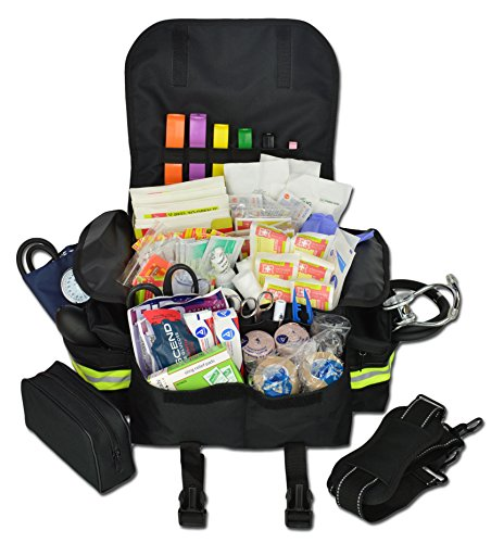 Lightning X Small First Responder EMT EMS Trauma Bag Stocked First Aid Fill Kit B (Black)