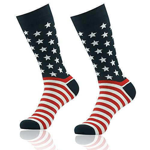 American Flag Socks, SUTTOS Men's Crazy Patriotic Black Red White Striped Stars Flag Socks Casual Funky Fashion Patterned Crew Independence Day Gift Flag Socks Boot Dress Socks 2 Pairs