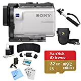 Sony HDR-AS300 HD GPS Action Camera, Selphie Stick, 64GB Card, and Accessory Bundle - Includes Camera, Selfie Stick, 32GB micro Memory Card, Carrying Case, Battery, Battery Charger, and More