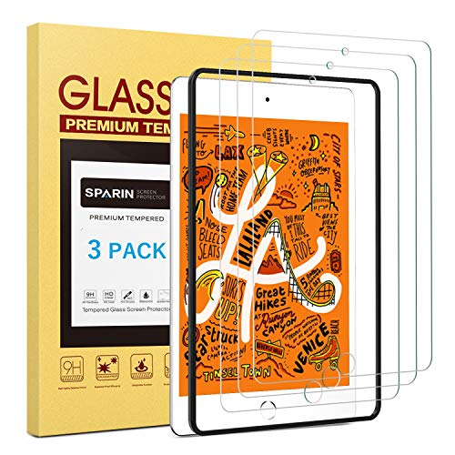 SPARIN [3 Pack] Screen Protector for iPad Mini 5 2019 / iPad Mini 4, Tempered Glass Screen Protector- Apple Pencil Compatible/Alignment Frame/Scratch Resistant