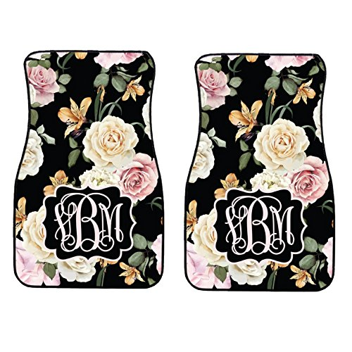 (Glitter Squad Personalized Black Floral | Pink and Cream Roses Car Mats (Set of)