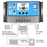 Y-SOLAR 10A/20A/30A/40A Solar Charge Controller 12V/24V PWM Solar Controller Regulator with Dual USB LCD Display Load Timer Setting (10A)