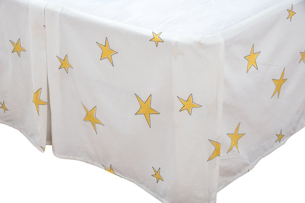 Rizzy Home 54'' x 79'' Bed Skirt BS1490 White Stars 100% Cotton