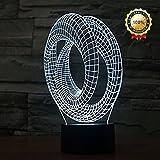 Decorative 3D Glow LED Night Light 7 Changeable Colors Art Sculpture Optical Illusion Lamp Touch Sensor Perfect for Home Party Festival Decor Great Gift Idea (Art Sculpture E)