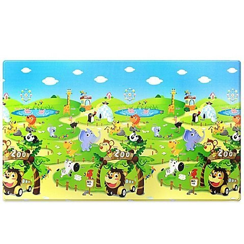 Large Kid's Non-slip Playmat in Zoo -100% PVC by Dwinguler