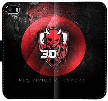 D Max Counter Strike Pro Juego Logotip E7L9N Funda iPhone 5 5S caja del cuero 5SE funda F00M5y Teléfono Móvil Flip Case Funda duro para los muchachos: ...