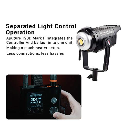Aputure 120D Mark 2, 120D II LED, 180W Daylight Balanced Led Video Light with PERGEAR Soft Diffuser, 30,000 lux@0.5m, CRI96+ TLCI97+, Support DMX, 5 Pre-Programmed Lighting Effects, Ultra Silent Fan by Aputure (Image #7)