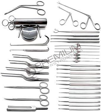 35 Pcs ENT Curettes Tweezers Forceps Retractors Probes Scissors Instruments