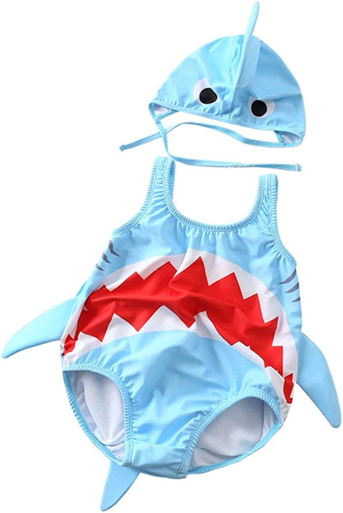 3D Cartoon Shark Rash Guard Swimsuit Baby Boys Girls One-Piece Sun Protection Long Sleeve Swimwear Bathing Suit