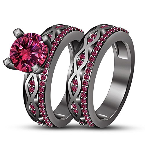 TVS-JEWELS Decorative Pink Sapphire Stone Black Rhodium Plated 925 Silver Bridal Wedding Ring Set (10.25) by TVS-JEWELS