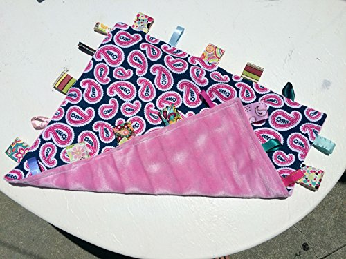 - Oh So Soft ~ Pink PAISLEY Cuddle Blanket with Ribbon Tabs