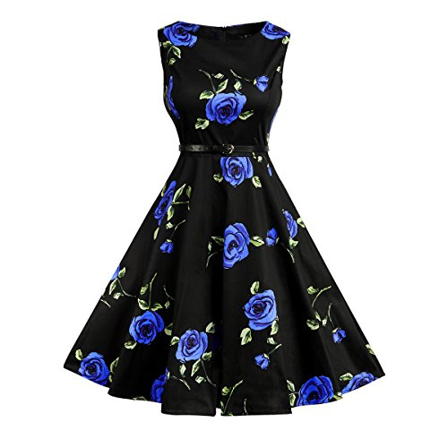 Rockabilly Audrey Blue Celewe Rose 12 Hepburn Vintage Swing Dress Women's 50s g1gRU7Sq