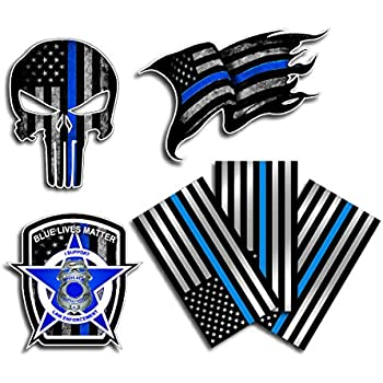 Variety pack of thin blue line police officer blue lives matter american flag vinyl decal sticker