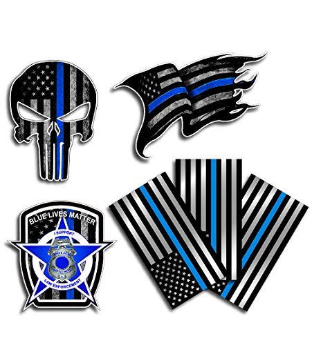 Cops Sticker - Variety Pack of Thin Blue Line Police Officer Blue Lives Matter American Flag Vinyl Decal Sticker Car Truck BLM(6 Pack)