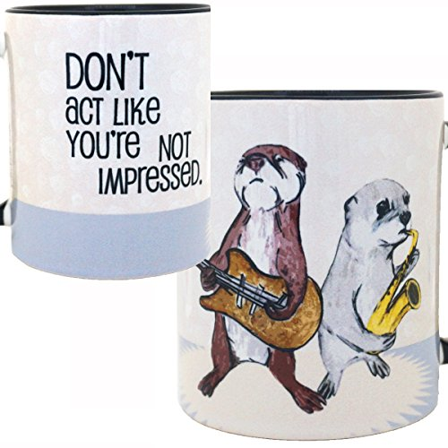 Impressed Otters Band Mug by Pithitude - One Single 11oz. Black Coffee Cup