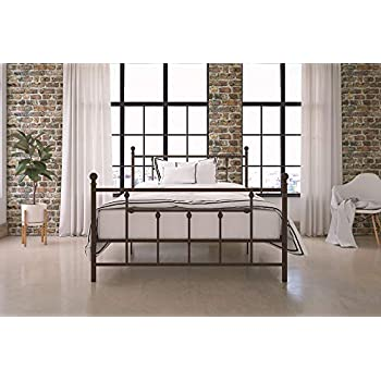 DHP Manila Metal Bed with Victorian Style Headboard and Footboard, Includes Metal Slats, Full Size, Bronze