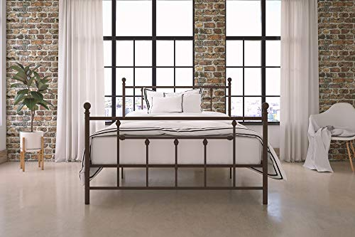 (DHP Manila Metal Bed with Victorian Style Headboard and Footboard, Includes Metal Slats, Full Size,)