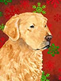 Caroline's Treasures SS4683CHF Golden Retriever Red Green Snowflakes Holiday Christmas Canvas House Flag