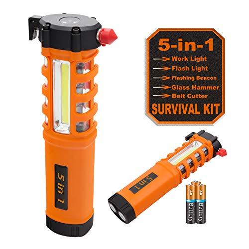 Multi-Function LED Work Light, Essential 5-in-1 Car Escape Tool, Life Saving Survival Kit: Seatbelt Cutter, Hammer Breaker, Worklight, Flashlight, Hazard SOS, Magnetic Base (Batteries Included) (Car Flashlight Tool)