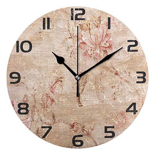 ALAZA Vintage Shabby Chic Floral Round Acrylic Wall Clock, Silent Non Ticking Oil Painting Home Office School Decorative Clock ()