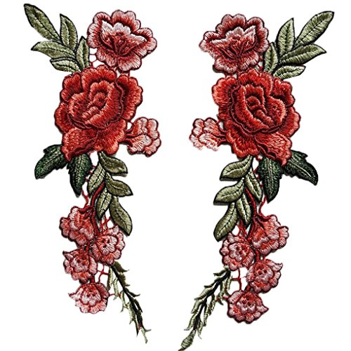 2PC Roses Floral Collar Sew Patch DIY Embroidered Sew Iron on Patch Applique Badge Chinese Style by Perman (11.0X3.93, Red)