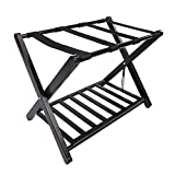 SHUTAO Portable Iron Stoving Varnish Luggage Rack with Storage Rack Black