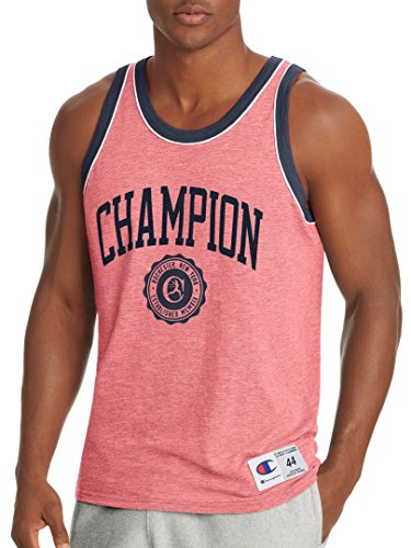 Champion Men's Heritage Tank, fire Roasted red Heather/Imperial Indigo/White, -