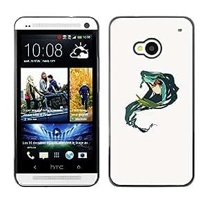 Shell-Star Arte & diseño plástico duro Fundas Cover Cubre Hard Case Cover para HTC One M7 ( Mermaid Green Nature Fairy Drawing Art )