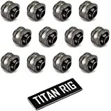 XSPC G1/4 to 3/8 ID, 5/8 OD Compression Fitting V2 for Soft Tubing, Black Chrome, 12-pack