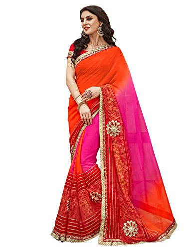 Shonaya Women's Patch Work & Print Georgette Pink Printed Saree With Unstitched Blouse (Pink Saree)