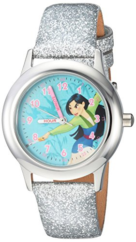 Disney Girl's 'Mulan' Quartz Stainless Steel Casual Watch, Color:Silver-Toned (Model: WDS000204)