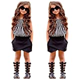 EITC Summer New Fashion Girls 2PCS Clothing Set: Striped Top+ Shorts 6T