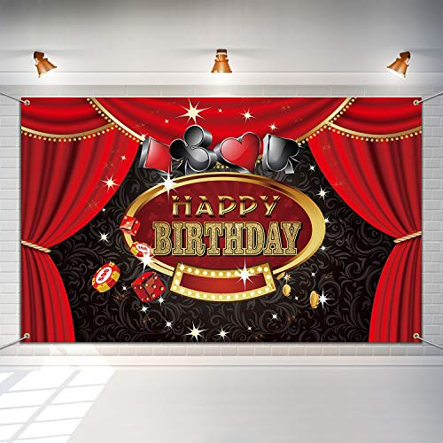Casino Themed Party Decorations (Las Vegas Casino Birthday Party Photo Booth Backdrop Background Banner with 19.7 Feet White String, Casino Theme Birthday Decoration, Casino Sign Happy Birthday Banner Supplies 6 x 3.6)