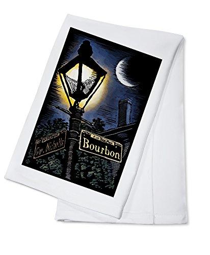 New Orleans, Louisiana - Bourbon Street Lamppost - Scratchboard (100% Cotton Kitchen ()