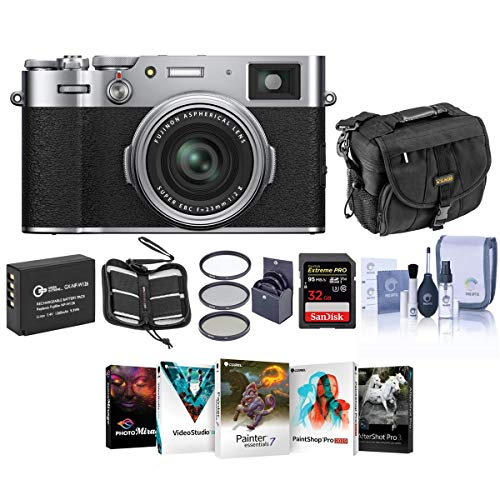 Fujifilm X100V Digital Camera, Silver - Bubdle with Camera Case, 32GB SDHC Card, Spare Battery, 49MM Filter Kit, Cleaning Kit, Memory Wallet, PC Software Package