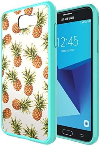 Galaxy J7V / J7 Sky Pro Case, Galaxy J7 Perx Case, Capsule-Case Hybrid Slim Snap-on Case w/ TPU Edges (Teal) for Samsung Galaxy J7 2017 J7 V / J7 Sky Pro / J7 Perx - (Pineapple)
