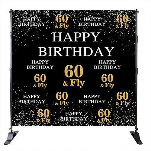 Mehofoto Happy 60th Birthday Backdrop Golden Light Decoration 60 Fly Repeat Distribution Backdrops Party Banner Decoration 8X8ft Vinyl Adult Custom Photo Studio Prop Photo Booth Banner Decor