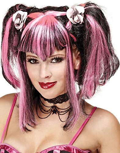 Ladies Black Pink Halloween Pigtails Fringed Wig Fancy Dress Costume Outfit Accessory ()