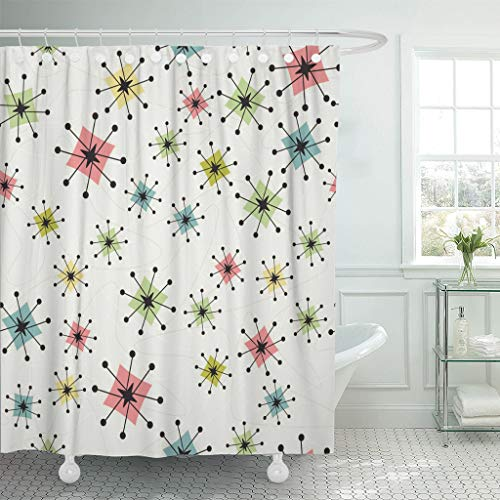Emvency Shower Curtain Vintage Atomic Stars Retro Pattern on of Boomerangs Items are Grouped So You Them Independently from The Waterproof Polyester Fabric 72 x 72 inches Set with Hooks