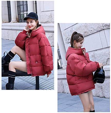 KOUPNLTM Piumini con Cappuccio Donna Inverno Caldo Cappotto Corto in Cotone Piumini Moda Femminile Rosso