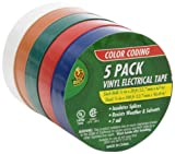 Duck Brand 299020 Colored Electrical Tape, 1/2-Inch by 20 Feet, 5-Pack of Rolls, Multi-Color