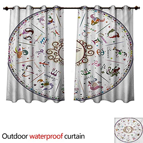 WilliamsDecor Zodiac Outdoor Curtain for Patio Astrology Map with Descriptions Forecast for Person Future Birth Natal Earth Theme W55 x L45(140cm x 115cm)