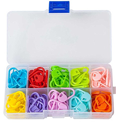 (Knitting Stitch Markers - LeBeila Split Locking Knit Stitch Counter Needle Clips Supplies, 120 Pieces Colorful Plastic Crochet Marker Yarn Count Rings Mini Safety Pins Accessories (120Pcs, 10Colors))