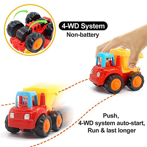 Wolson Push and Go Friction Powered Car Toys Engineering Vehicles Set Tractor Bulldozer Mixer Truck and Dumper for Baby Toddlers by Wolson (Image #1)